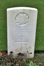 Grave Marker – The grave marker at the Cabaret-Rouge British Cemetery located approximately 6 kilometres from the Vimy Memorial, just outside of Souchez, France. May he rest in peace. (J. Stephens 2010)