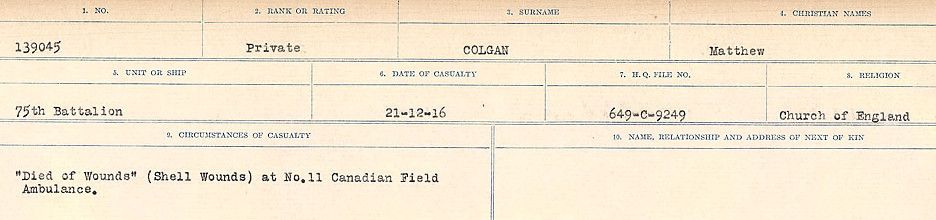Circumstances of Death Registers – Source: Library and Archives Canada.  CIRCUMSTANCES OF DEATH REGISTERS, FIRST WORLD WAR Surnames:  CLEAL TO CONNOLLY.  Microform Sequence 21; Volume Number 31829_B016730. Reference RG150, 1992-93/314, 165.  Page 811 of 1384
