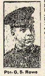 Newspaper clipping – Pte. George Sidney Rowe in the 84th Battalion C.E.F. in Toronto in August 1915.  His father, Arthur Warren Rowe, 27 Fuller Avenue, Toronto, was named as his next-of-kin.  In honoured memory.