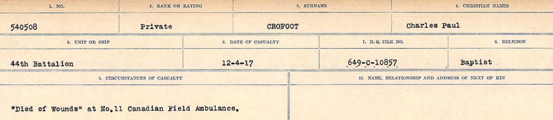 Circumstances of death registers – Source: Library and Archives Canada. CIRCUMSTANCES OF DEATH REGISTERS, FIRST WORLD WAR Surnames: CRABB TO CROSSLAND Microform Sequence 24; Volume Number 31829_B016733. Reference RG150, 1992-93/314, 168. Page 603 of 788.