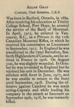 Biography – From Memorial from the Great War 1914-1918: a record of service published by the Bank of Montreal 1921.