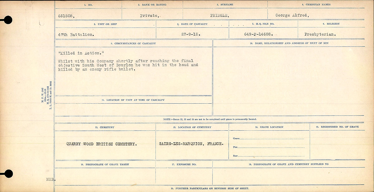 Attestation Papers – Circumstances of Death-George Alfred Pringle