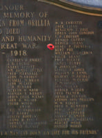 Cenotaph – Private Henry Fountain is also commemorated on the WWI cenotaph in Orillia, ON … photo courtesy of Marg Liessens