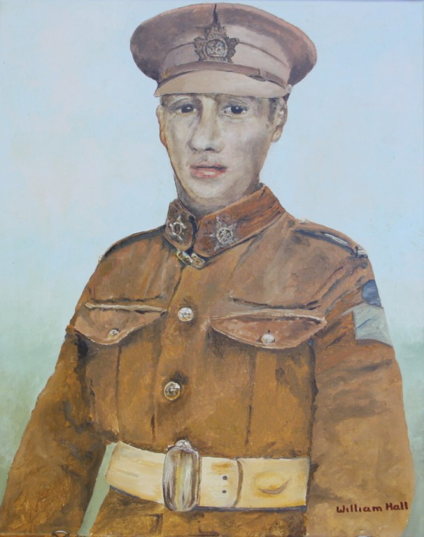 Painting – Pte. Albert G. Gates - (Oil on Canvas by William Hall Commissioned by grandson Ron Gates August 2015)