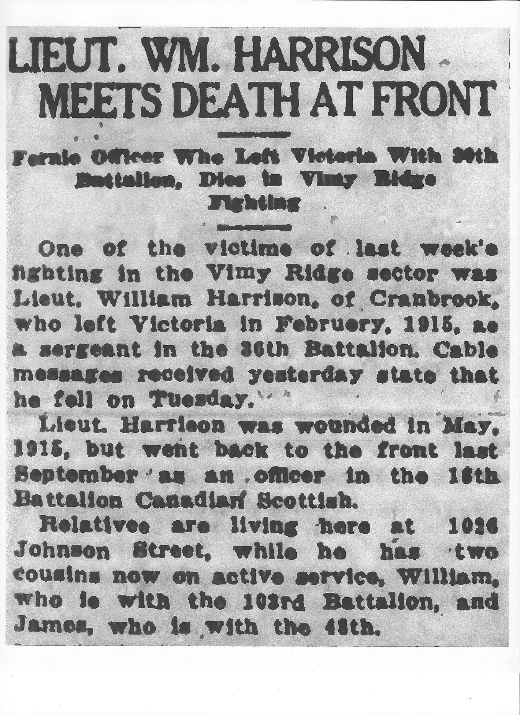 Newspaper clipping – From the Daily Colonist of April 21, 1917. Image taken from web address of http://archive.org/stream/dailycolonist59y114uvic#page/n0/mode/1up