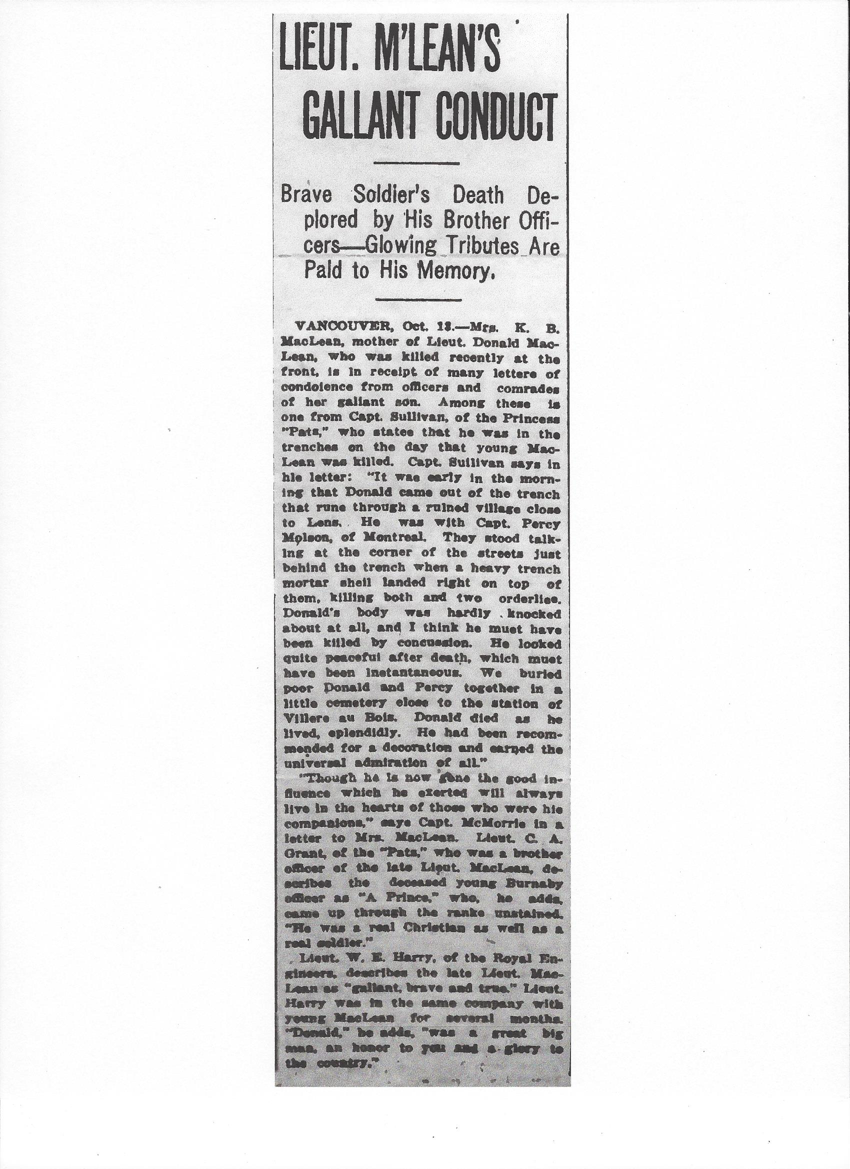 Newspaper Clipping – Newspaper clipping from the Daily Colonist of October 14, 1917. Image taken from web address of http://archive.org/stream/dailycolonist59y265uvic#page/n0/mode/1up