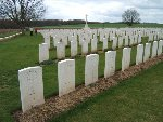 Gravemarker – The grave at the left front corner of this photograph is that of Oliver Pender.  He lies in Villers Station Cemetery in France.  This picture was taken in April 2006.