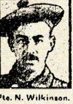 Newspaper clipping – Mrs. Richard Rainford was interviewed for this newspaper article about her relative Pte. Nathan Wilkinson.  She mentions that her own husband had been killed on April 9th, 1917.