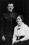 Group Photo – Photo of Pte. Clarence H. RIGGS and his sister, Iva RIGGS, probably from 1916