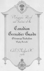 Canadian Grenadiars Guards Memorial Book – In memory of the men who served with the 87th Battalion CEF. Submitted for the project, Operation: Picture Me