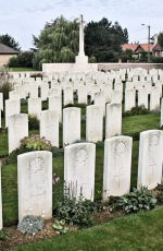 Bois Carre British Cemetery – The Bois Carre British Cemetery located on Vimy Ridge at the eastern edge of the town of Thelus, France. The cemetery is about 6 kilometres from Canada's Vimy Memorial.(John & Anne Stephens 2013)