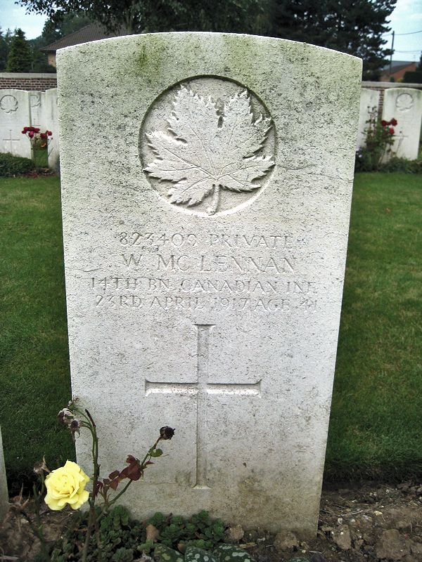 Grave Marker – The grave marker at the Bois Carre British Cemetery located on Vimy Ridge at the eastern edge of the town of Thelus, France. The cemetery is about 6 kilometres from Canada's Vimy Memorial. May he rest in peace. (John & Anne Stephens 2013)