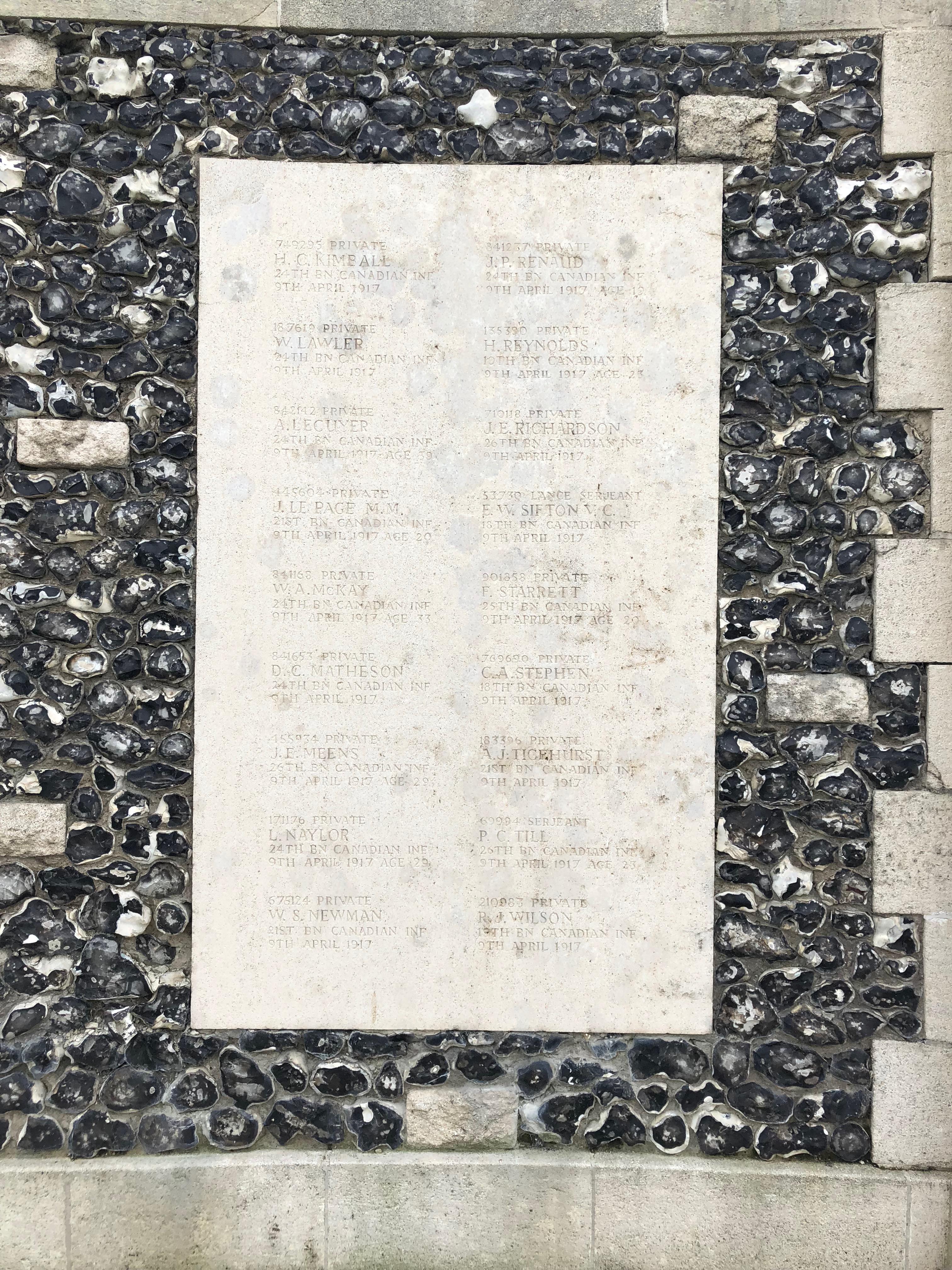 Inscription sur le monument