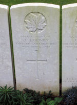 Grave Marker – The grave marker at the Givenchy Road Canadian Cemetery located on the grounds of the Vimy Memorial Park on Vimy Ridge, just outside of Neuville-St Vaast, France. May he rest in peace. (J. Stephens)