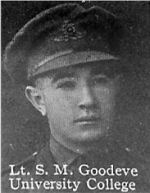Photo of Stewart Goodeve – From: The Varsity Magazine Supplement published by The Students Administrative Council, University of Toronto 1916.   Submitted for the Soldiers' Tower Committee, University of Toronto, by Operation Picture Me.