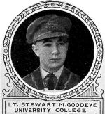 Photo of Stewart Goodeve – From: The Varsity Magazine Supplement Fourth Edition 1918 published by The Students Administrative Council, University of Toronto.   Submitted for the Soldiers' Tower Committee, University of Toronto, by Operation Picture Me.