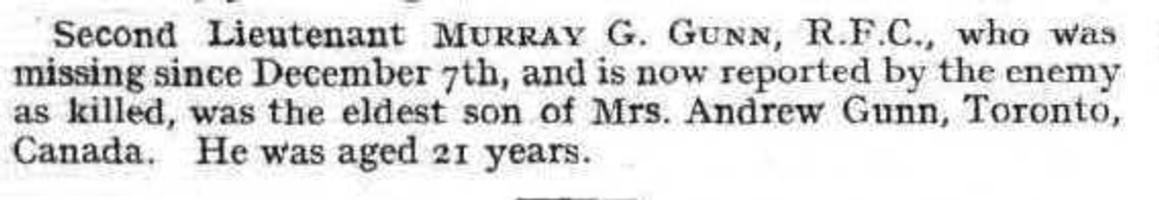 Newspaper clipping – A casualty notice that appeared at page 134 in the January 31, 1918, issue of Flight, the magazine of the Royal Aero Club of the United Kingdom.