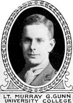 Photo of Murray Gunn – From: The Varsity Magazine Supplement Fourth Edition 1918 published by The Students Administrative Council, University of Toronto.   Submitted for the Soldiers' Tower Committee, University of Toronto, by Operation Picture Me.