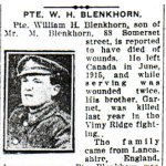 Newspaper Clipping – Pte. Garnet Blenkhorn is mentioned in this  article about his brother.