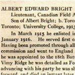 """Obituary – From the """"University of Toronto / Roll of Service 1914-1918"""", published in 1921."""