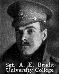 Photo of Albert Bright – From: The Varsity Magazine Supplement published by The Students Administrative Council, University of Toronto 1916.   Submitted for the Soldiers' Tower Committee, University of Toronto, by Operation Picture Me.