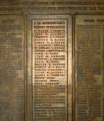 Central Methodist Memorial Tablet – Detail of World War One Memorial Tablet at Central Methodist (United) Church in Calgary. There are 204 names in total listed. The central section lists 36 names on the Roll of Honour while the two outside sections list the men who served and survived the war.