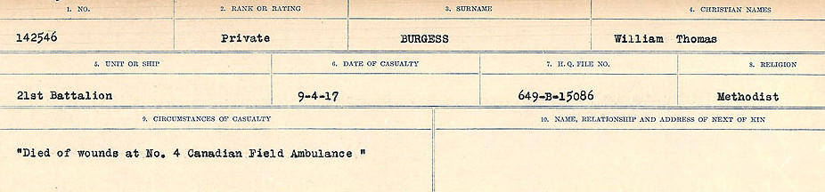 Circumstances of Death Registers – Source: Library and Archives Canada.  CIRCUMSTANCES OF DEATH REGISTERS, FIRST WORLD WAR Surnames:  Burbank to Bytheway. Microform Sequence 16; Volume Number 31829_B016725. Reference RG150, 1992-93/314, 160.  Page 147 of 926.