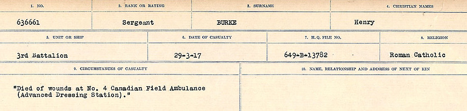 Circumstances of Death Registers – Source: Library and Archives Canada.  CIRCUMSTANCES OF DEATH REGISTERS, FIRST WORLD WAR Surnames:  Burbank to Bytheway. Microform Sequence 16; Volume Number 31829_B016725. Reference RG150, 1992-93/314, 160.  Page 187 of 926.