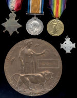 Medals – Trio, Memorial Cross and Death Plaque to #839, Pte Fred Campbell. An original member of the PPCLI, twice wounded prior (once severely on 04 May 15), Pte Fred Campbell  was killed by shell fire during the assault at Vimy Ridge at the Cross Roads, La Targette. He is buried in Ecoivres Military Cemetery.