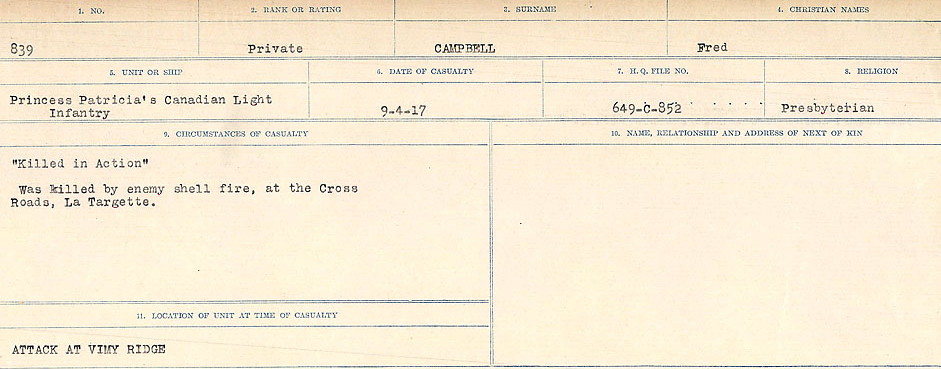 Circumstances of Death Registers – Source: Library and Archives Canada.  CIRCUMSTANCES OF DEATH REGISTERS, FIRST WORLD WAR Surnames:  Cabana to Campling. Microform Sequence 17; Volume Number 31829_B016726. Reference RG150, 1992-93/314, 161.  Page 677 of 1024