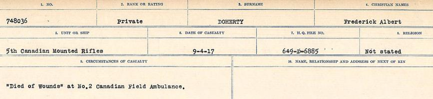 Circumstances of death registers – Source: Library and Archives Canada. CIRCUMSTANCES OF DEATH REGISTERS, FIRST WORLD WAR. Surnames: Deuel to Domoney. Microform Sequence 28; Volume Number 31829_B016737. Reference RG150, 1992-93/314, 172. Page 951 of 1084.