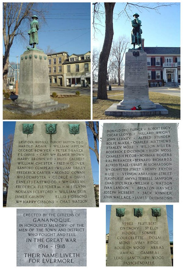 Gananoque War Memorial - Gananoque, Ontario.