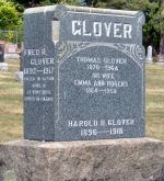 Memorial – Glover family grave marker at Gananoque Cemetery.