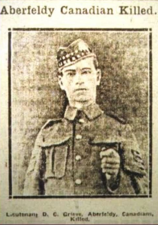 Newspaper clipping – Newspaper clipping of David Greive shown in an Aberfeldy area newspaper after his death.