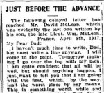 Newspaper Clipping 3 – Last letter to his father, published in the Perth Courier for 18 May 1917.