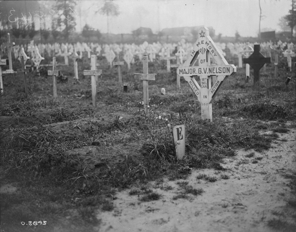 Temporary Grave Marker – Grave of Major GV Nelson 18th Can Infantry Battalion in July 1918.
