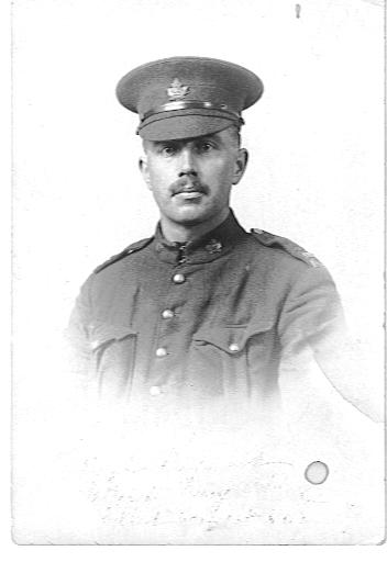 """Photo of Ralph Raymond – This picture was in my Grandmother , Helen S. Raymond's photo album.  On the back she had written """"""""Died in the last great war.  Gave his live for his country and his remains were not allowed to be brought home."""""""
