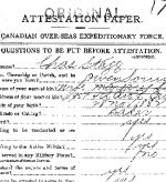 Attestation Papers – Attestation paper, page 1, for Charles Stagg of Owen Sound, Ontario.