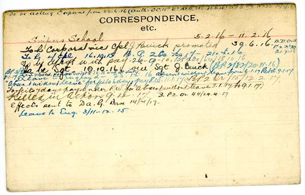 Record of Service – Record of Service Card (reverse side).  From archives 48th Highlanders of Canada Regimental Museum.  Submitted by 15th Bn Memorial Project Team.  DILEAS GU BRATH