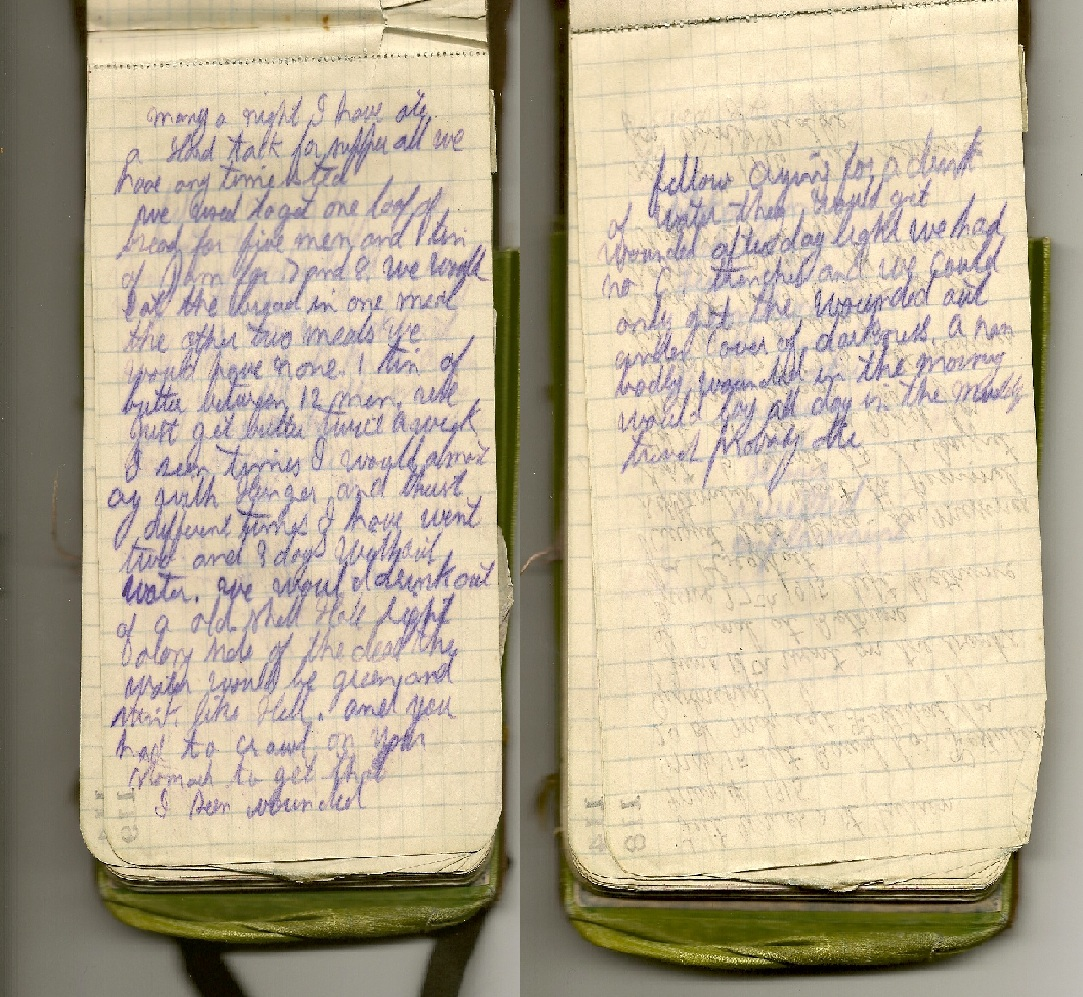 War Diary – Entry in Fred Wade's war diary (army book) ca. 1916 concerning lack of food and water and difficulty getting the wounded.