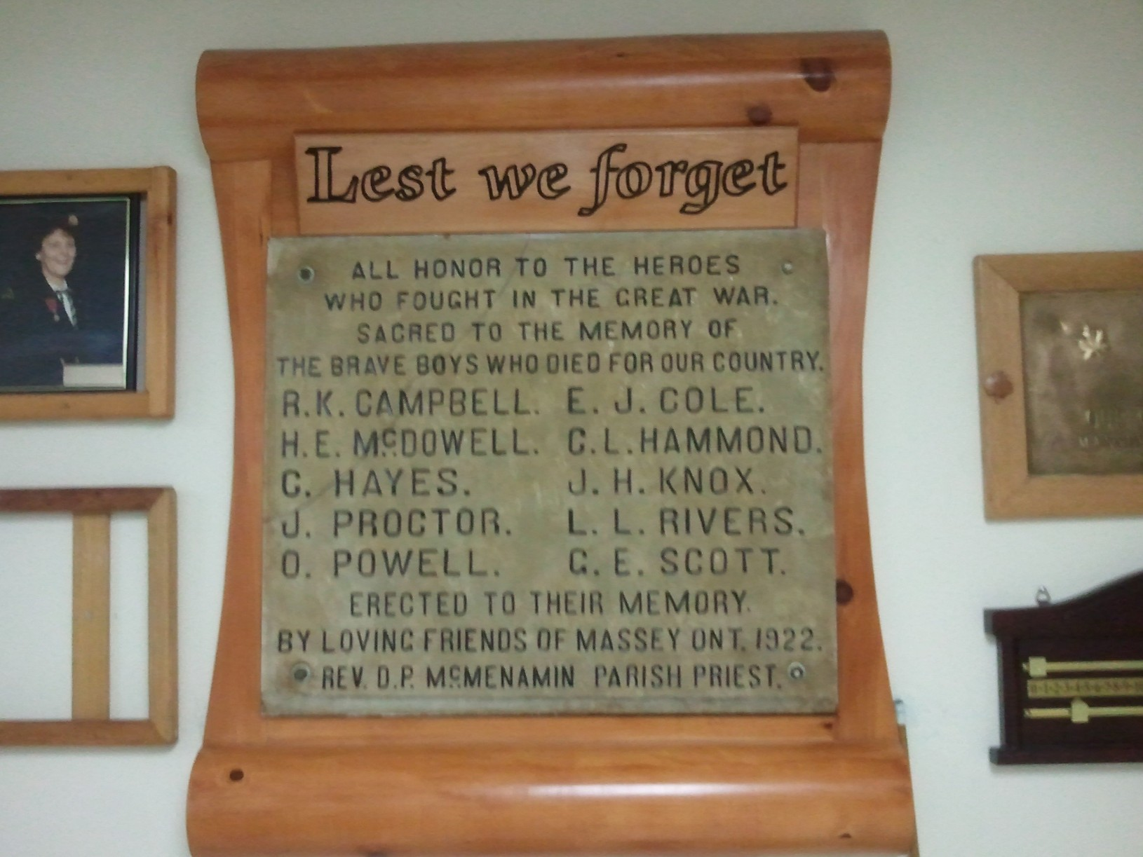 War Memorial – http://cefresearch.ca/wiki/index.php/Massey,_ON Memorial Plaque, Massey Legion Research by Canadian Expeditionary Force Study Group