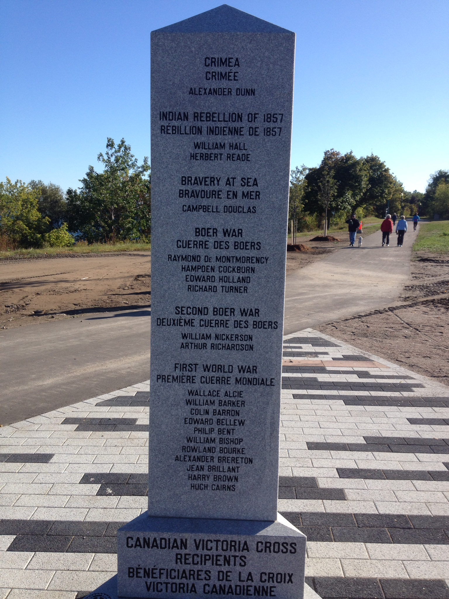 War Memorial – Barrie Military Park with Canadian Victory Cross Recipients Cenotaph