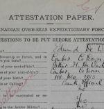 Attestation Paper (front) – Second Lieutenant Edmund De Wind enlisted at Edmonton, Alberta, on November 16, 1914.