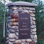 Memorial at Canoe River – Memorial at Canoe River train crash site.  In November of 1950 thousands of soldiers were sent to Fort Lewis, Washington, for training before their journey to Korea. They went by rail.  At 10:35 in the morning of November 21st, a troop train carrying 340 soldiers - soldiers of the 2nd Regiment, Royal Canadian Horse Artillery - was just east of the village of Canoe River, British Columbia. An express train on the same track was speeding in the opposite direction. And the two crashed, head-on. The troop train was tossed into the air, its engine thrown back onto the coach cars behind it. Steel cars were shattered by other steel cars in a raging inferno.  Seventeen Canadian soldiers died that morning, and the bodies of four of them were never found. Many of those who escaped death suffered horrible injury including massive burns.  The sacrifice made by the men at Canoe River was no less than that of all war veterans who died in the service of our country.  These Canoe River men also died so that others might live in peace. We remain eternally in their debt.