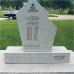 Monument – Reverse of Korean War Veterans War Memorial.  It is a memorial to the victims of the Canoe River crash. The monument is located in the Brookside Cemetery in Winnipeg, Manitoba.
