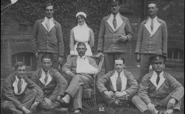 Photo of Bertha Bartlett – Bertha Bartlett (back row) is the only woman to be buried in the Newfoundland Regiment plot at Wandsworth Cemetery. Credit: Beatrix Potter School.