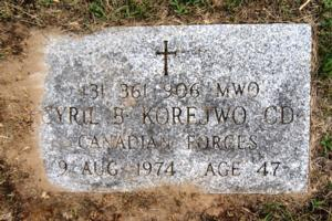 Grave marker – Marker at the grave of Acting Master Warrant Officer Cyril B. Korejwo CD, of The Royal Canadian Regiment, in the Alliston Union Cemetery, 445 Victoria Street East, Alliston, Ontario. A/MWO Korejwo was killed, together with eight other Canadians, when a Canadian Forces Buffalo transport aircraft, in service with the United Nations Emergency Force Middle East, was shot down by Syrian forces on 9 August 1974.