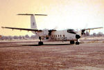"""Buffalo 115461 – Buffalo 115461 on the runway at Ismalia, Egypt in 1974. This photo, believed to be unique, was taken in the spring of 1974 by John MacFarlane. He provided the following infromation: """"This photo is probably the only one of its kind and I have no problem with it being displayed.  I knew Mike before the incident as he was my replacement, as my initial replacement had health issues and was cancelled at the last moment."""""""