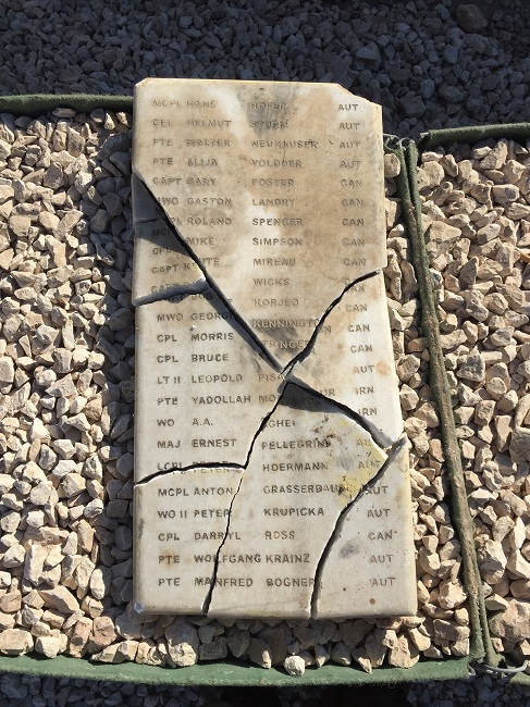 Memorial Plaque – Recovered by members of the Irish Defence Forces from UN Camp Faour , Syria during 'Operation Winterfell.' The plaque is currently being repaired having suffered battle damage after the camp was evacuated in 2014.