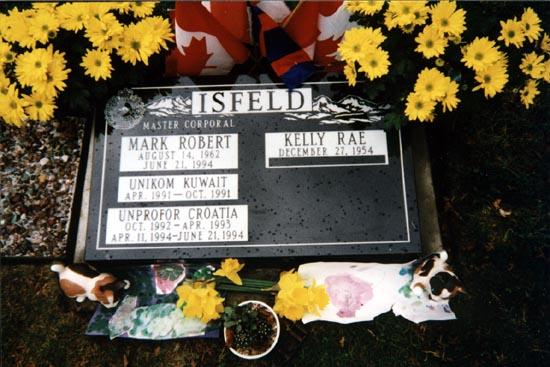 Grave marker of Mark Robert Isfeld